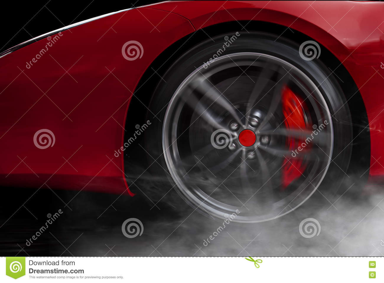 Isolated generic red sport car with detail on wheel with red breaks drifting and smoking on a dark background