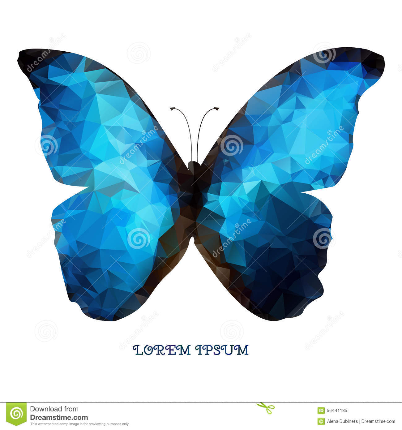 isolated geometric logo blue butterfly as a design stock