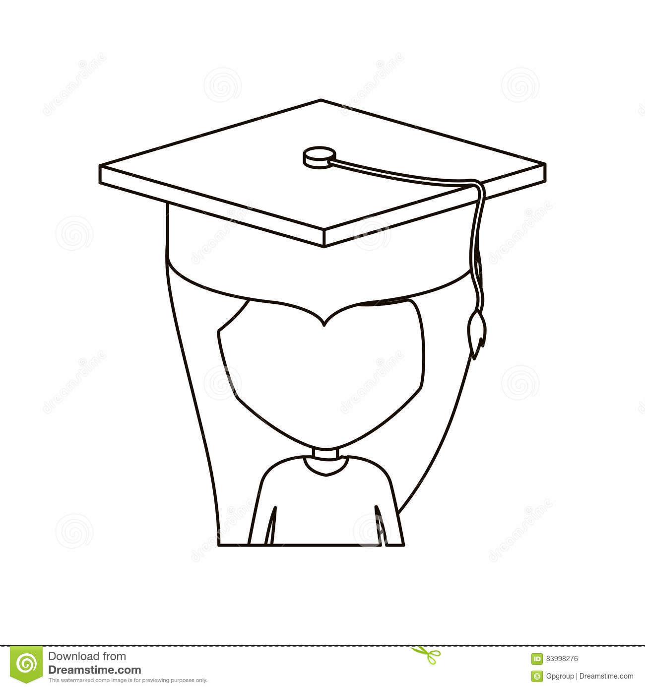 Isolated Girl With Graduation Cap Design Stock Vector