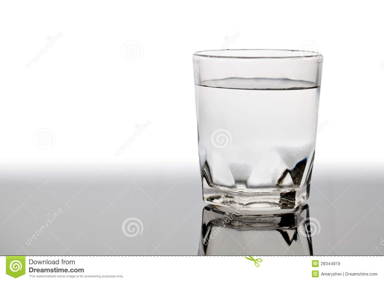Isolated Glass Of Water On The Table With Reflection Stock Image