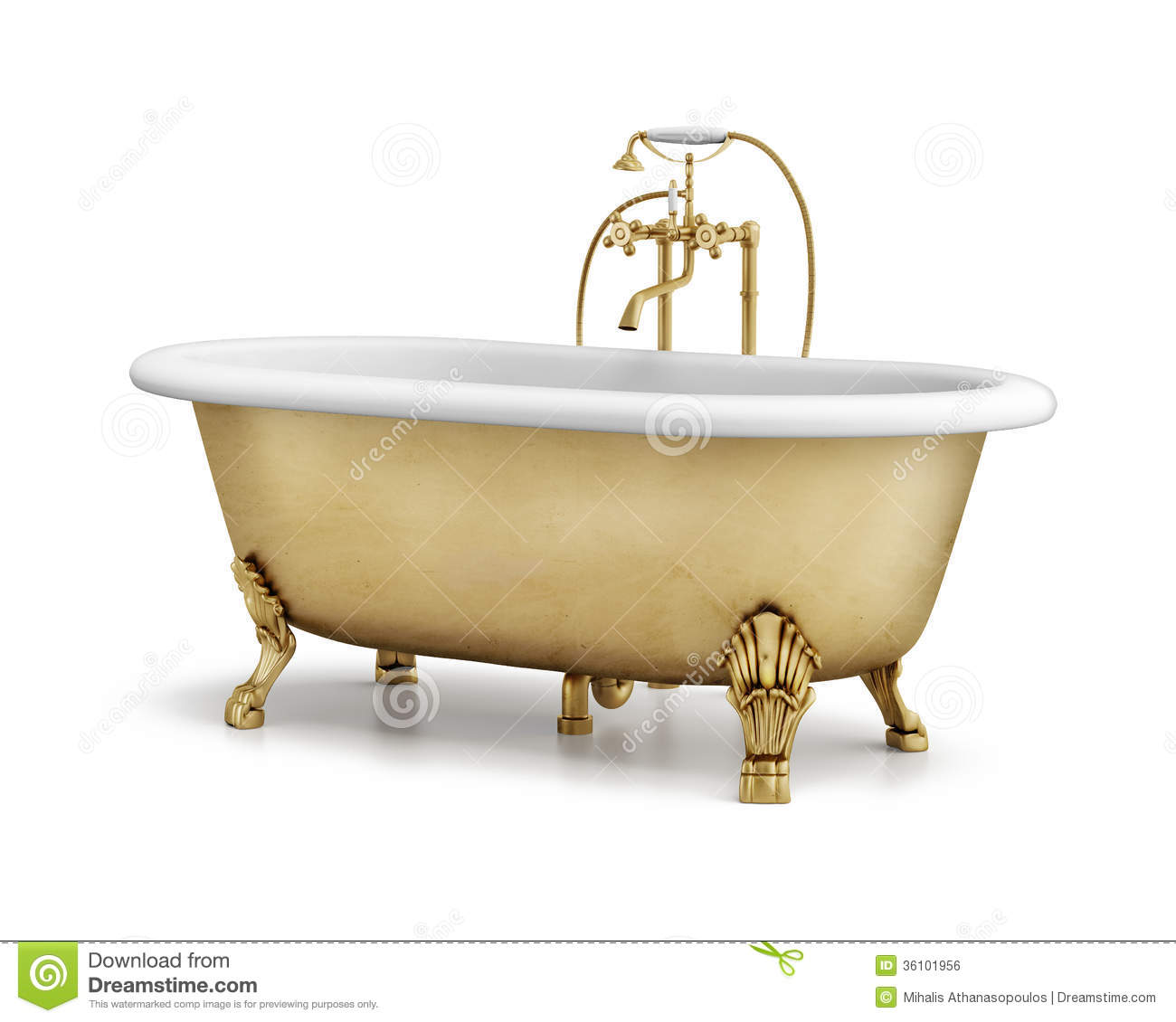 Isolated Gold Bronze Classic Bathtub On White Royalty Free
