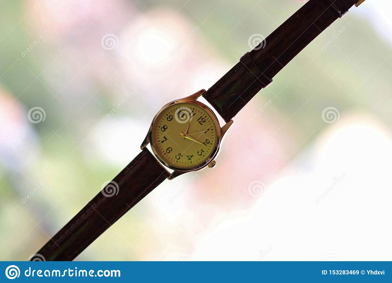 gold and quartz watch with leather strap.