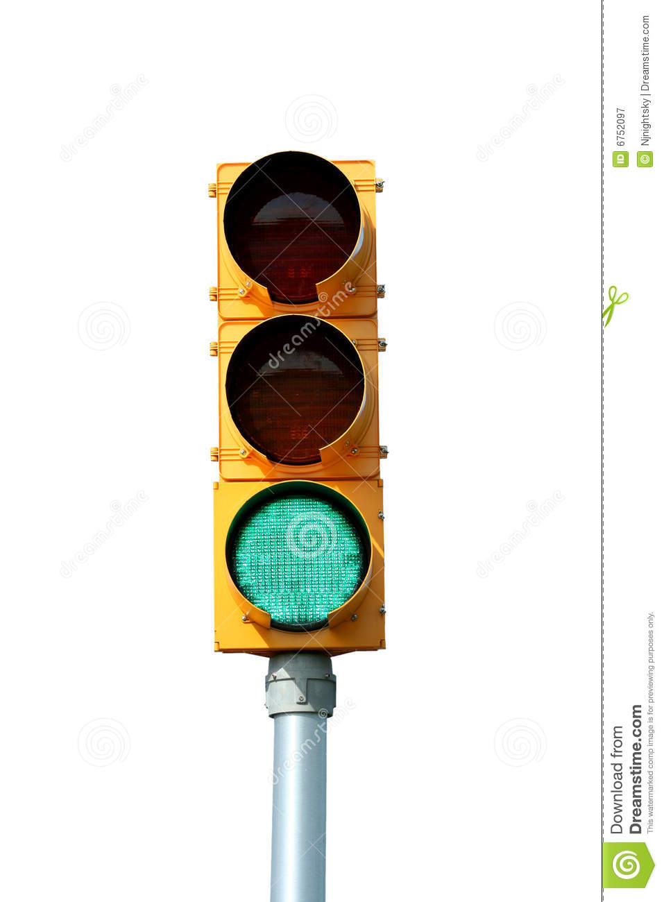 Isolated Green traffic signal light