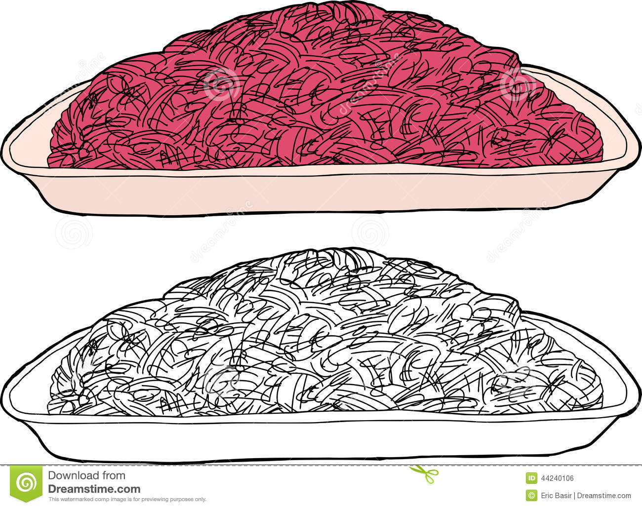 Isolated Ground Beef stock vector. Image of polystyrene - 44240106 for Beef Clipart Black And White  lp00lyp