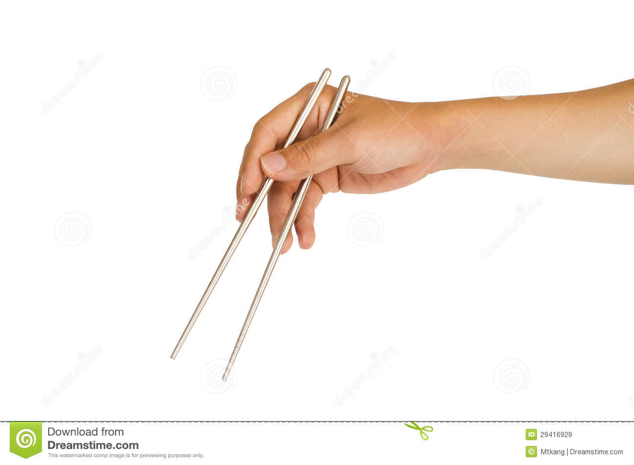 Isolated Hand Holding Chopstick Royalty Free Stock Images