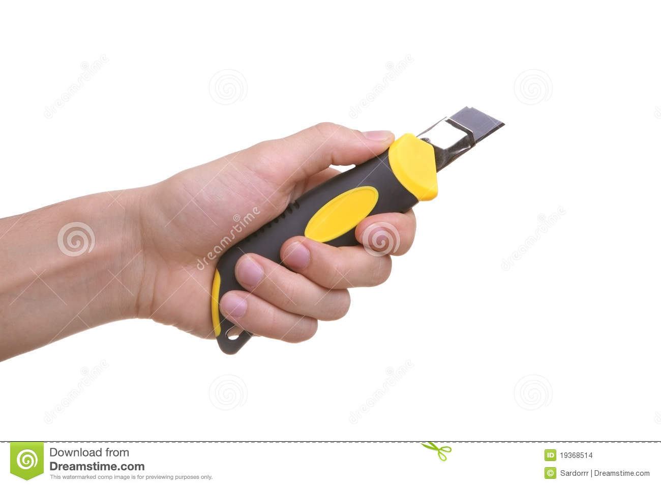 Isolated Hand Holding Cutting Knife Tool Stock Photo ...