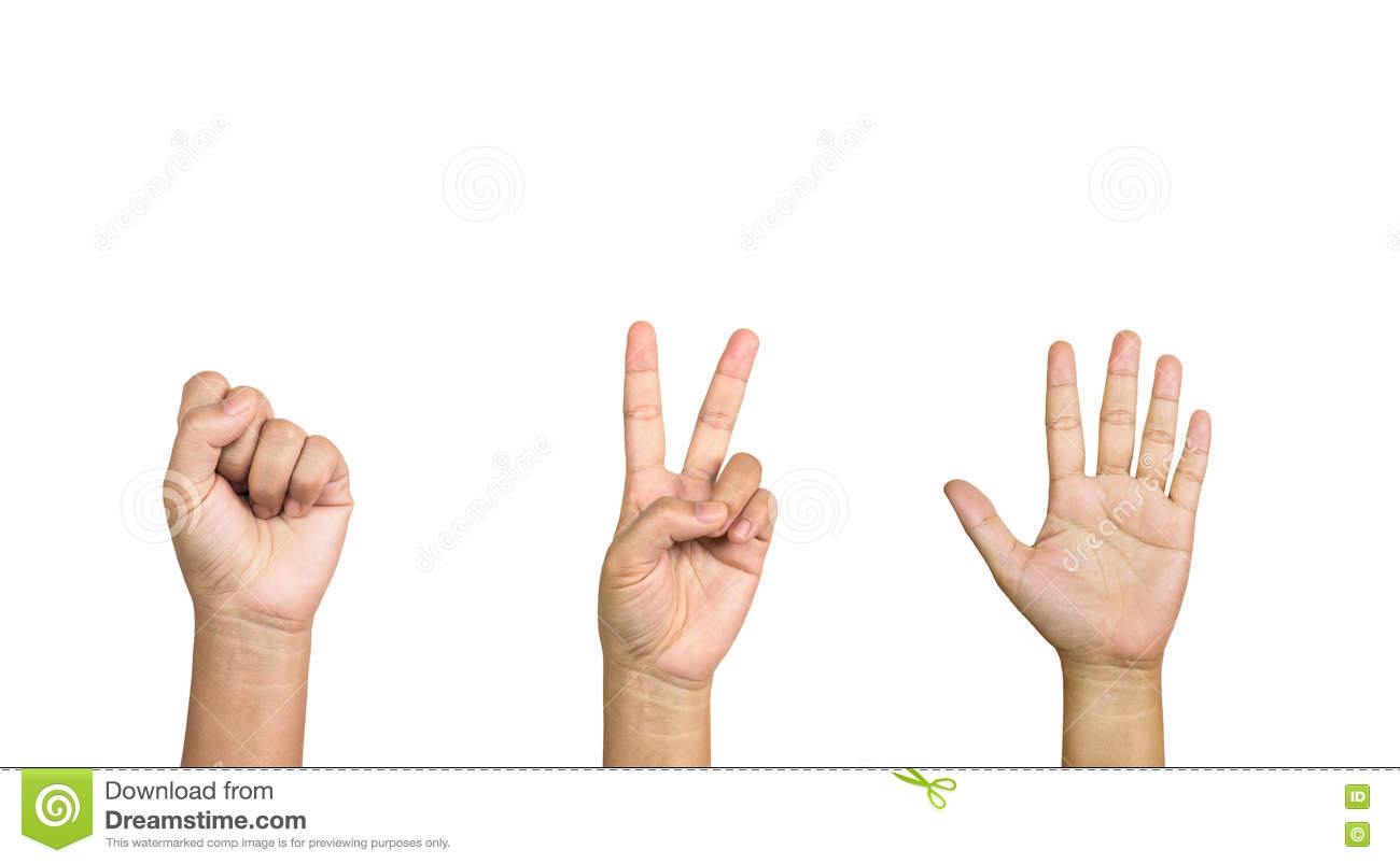 Isolated Hand Symbol Of Rock Paper Scissors Or Zero Two Five Stock