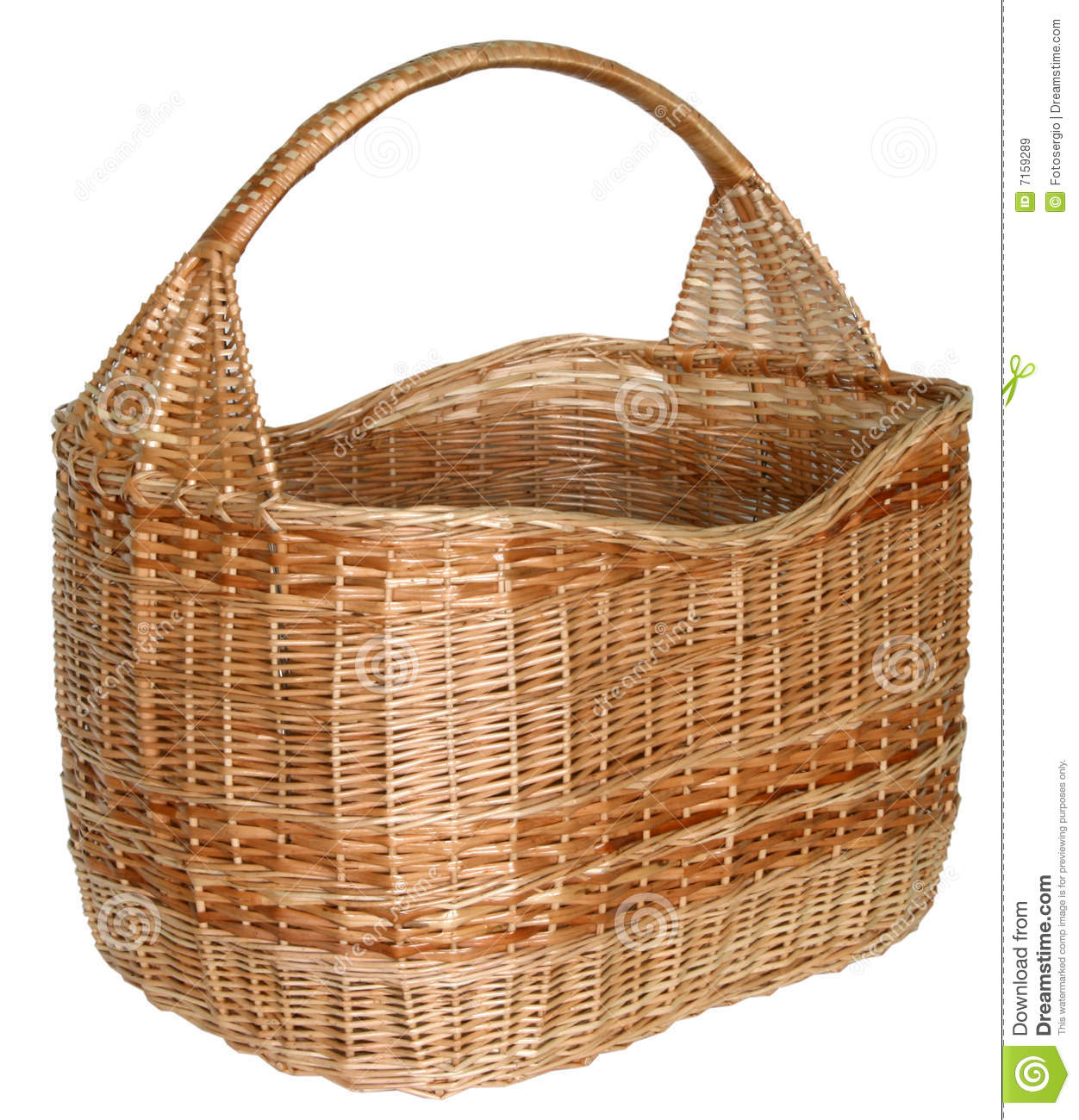 Handmade cane baskets : Isolated handmade wicker basket royalty free stock