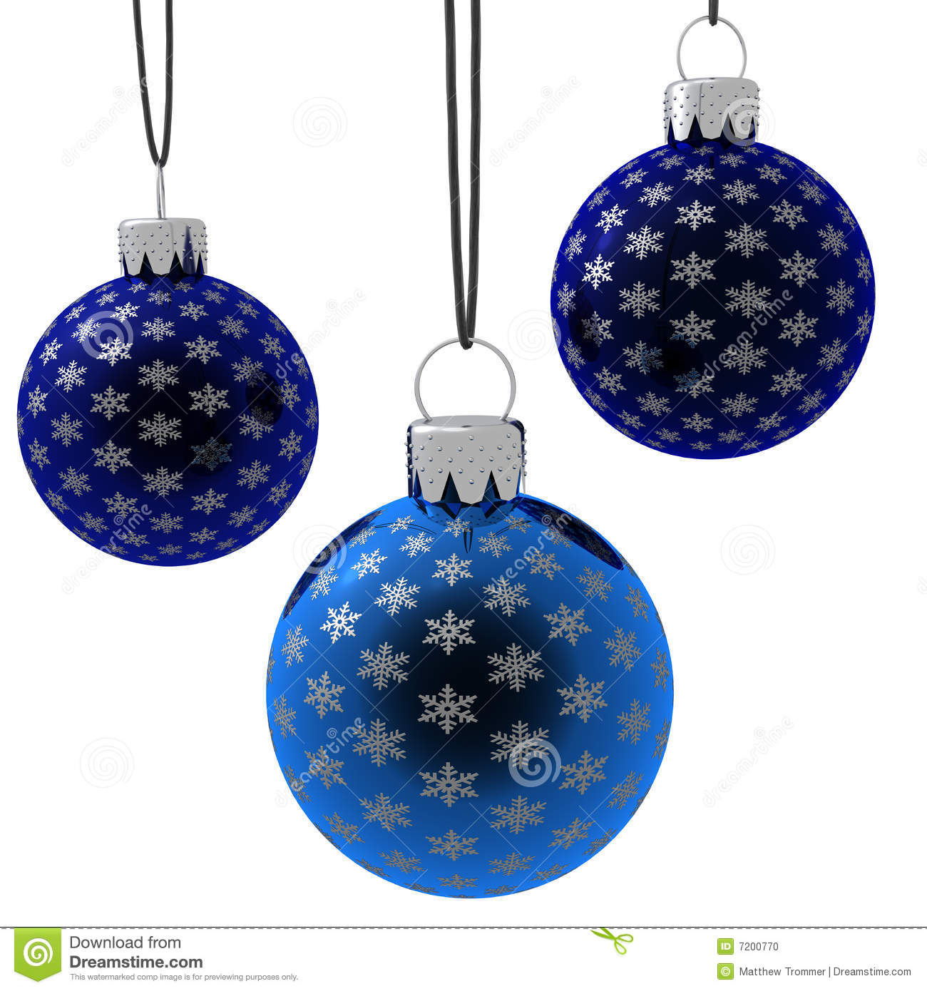 Isolated hanging blue christmas ornaments stock photo image 7200770 - Hanging christmas ornaments ...