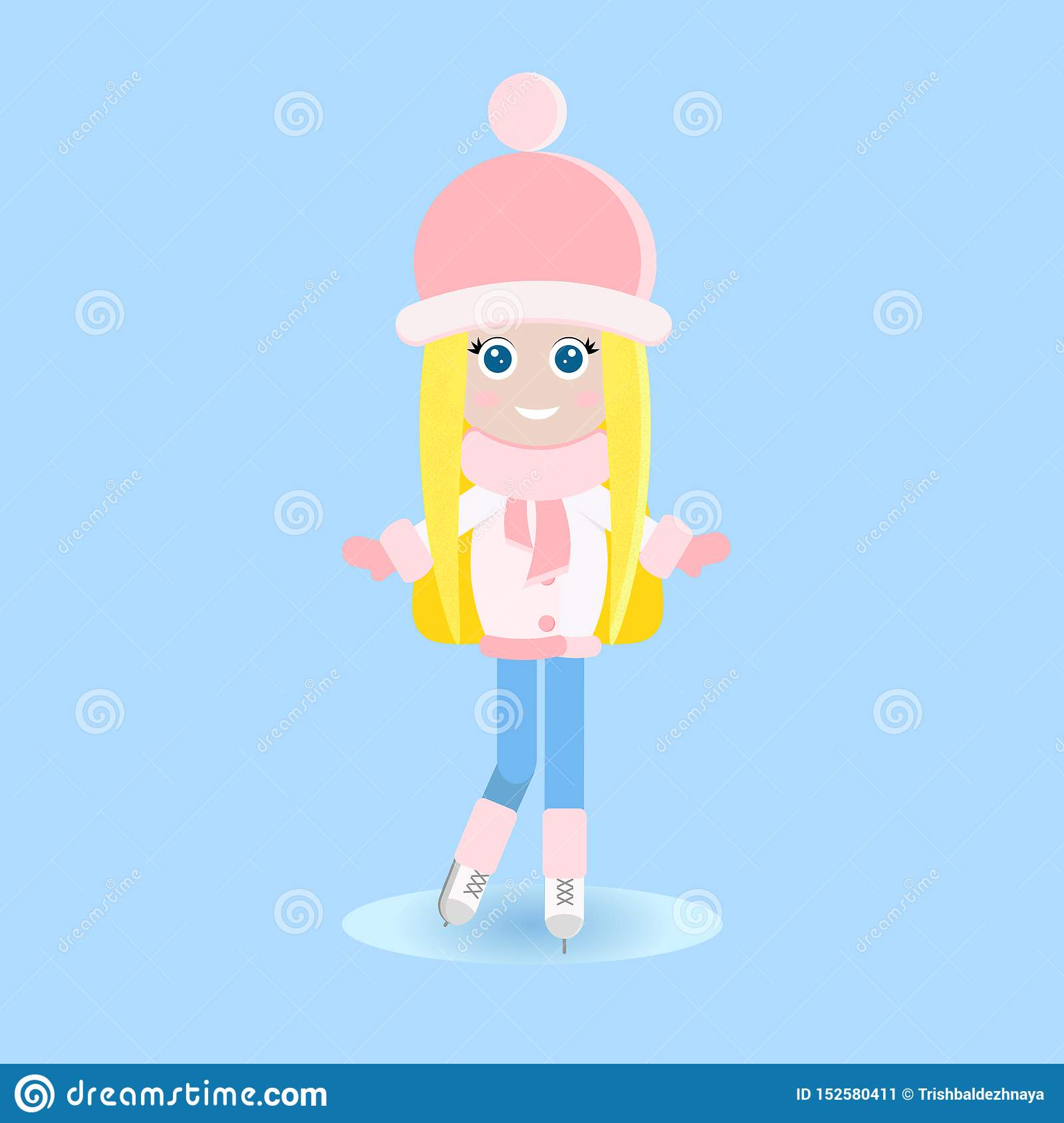 Isolated happy young blonde girl in warm clothes iice skating on the rink in flat style