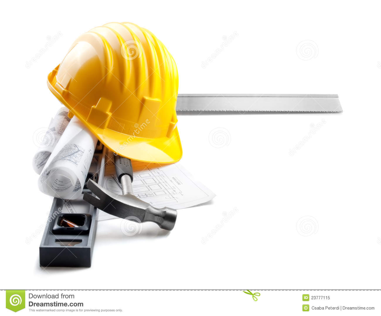 Isolated Hard Hat With Tools And Blueprint On Whit Stock