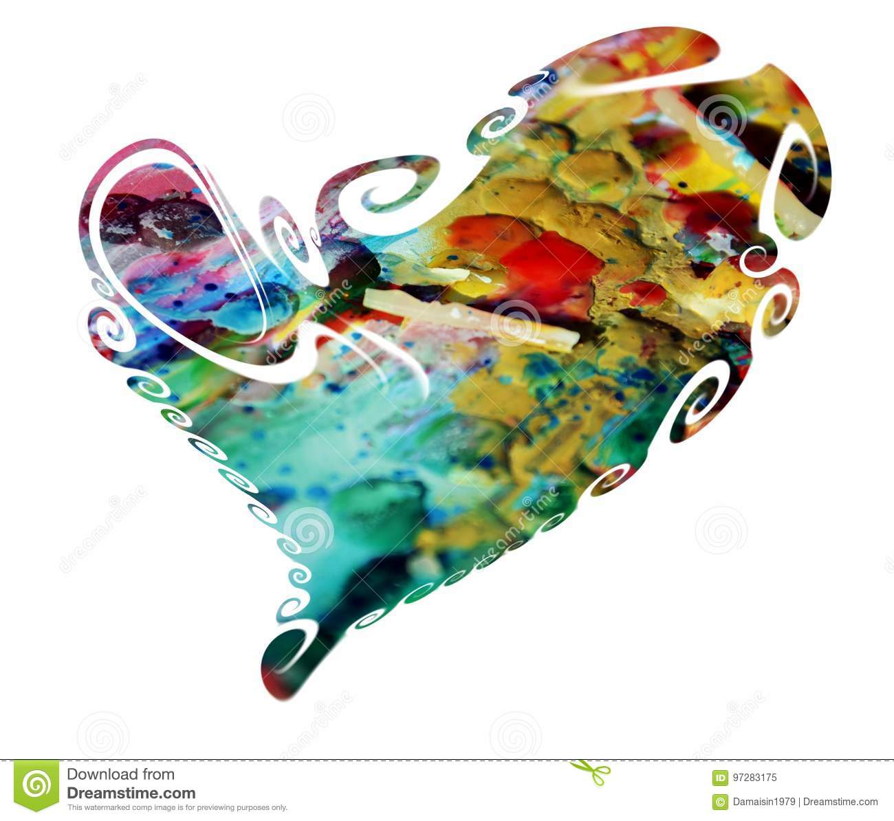 Isolated painted heart. Love symbol and concept on white background