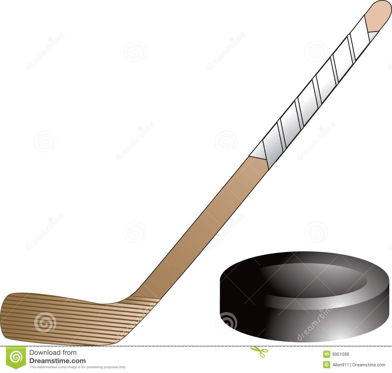 Isolated picture of a hockey puck and a hockey stick.