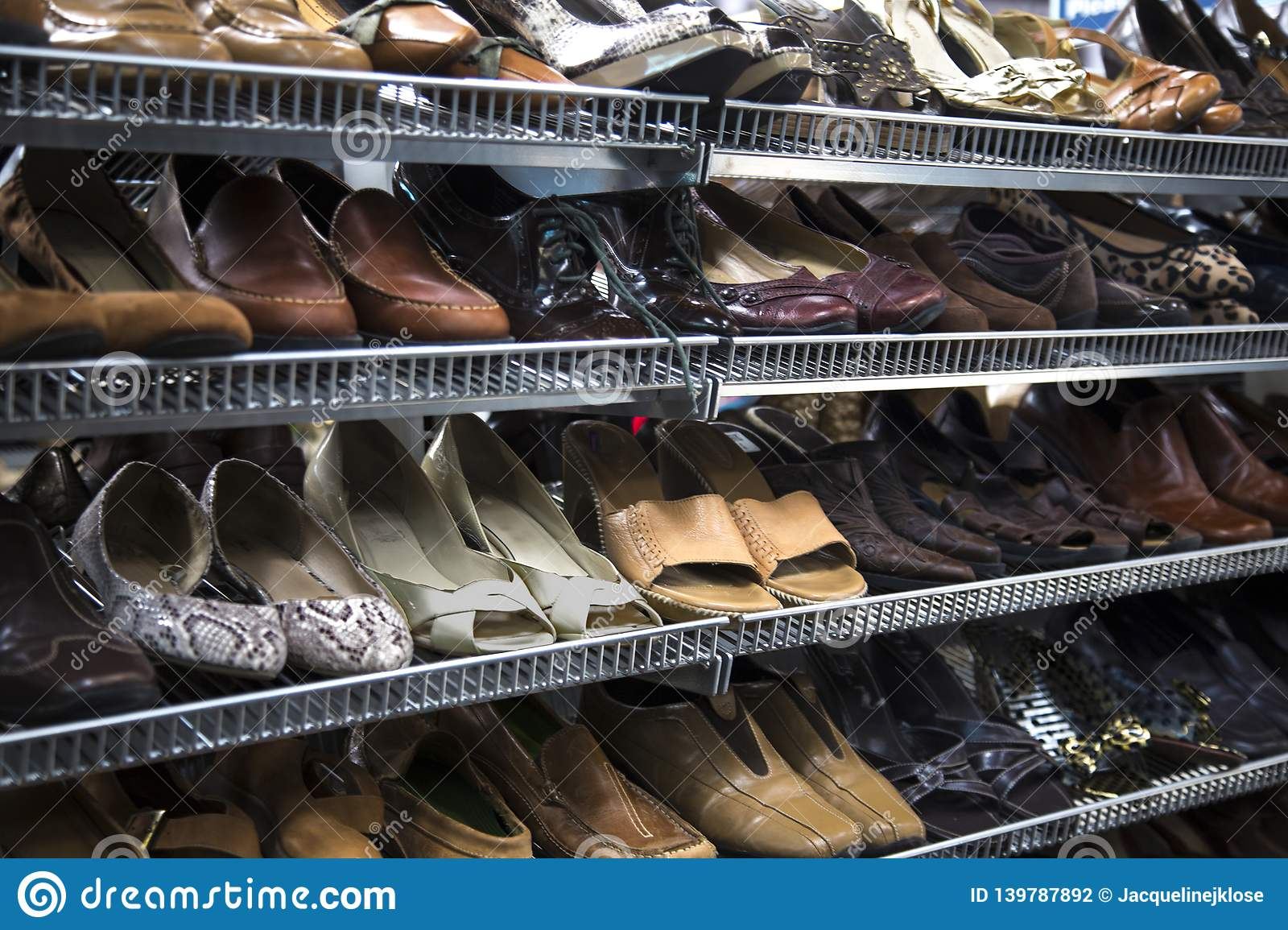 Women`s Neutral Colored Pumps, Shoes, Sandals, on Thrift Store Shelves
