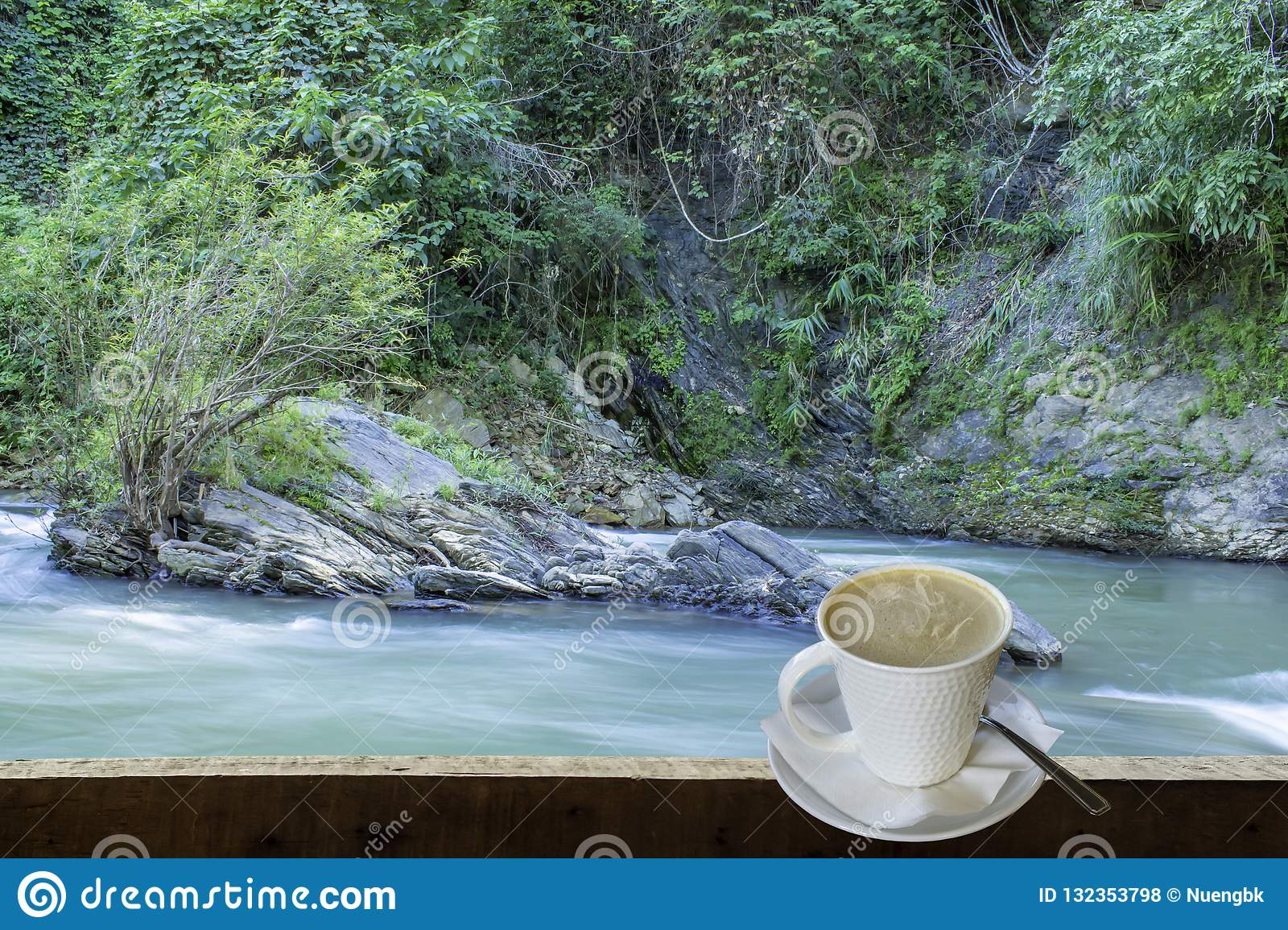 Isolated Hot coffee Put a glass of white with a casual break fro