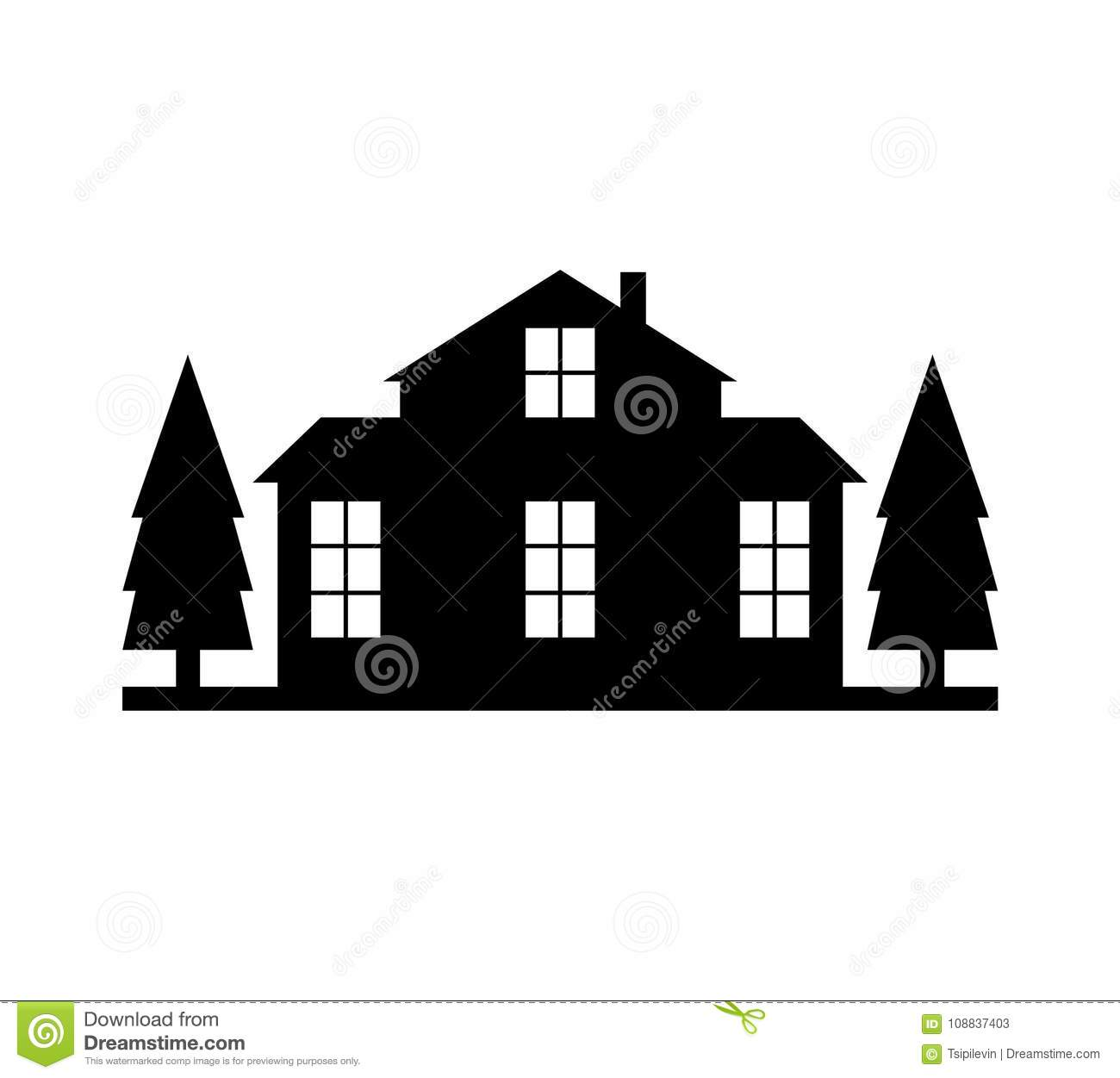 house silhouette with trees stock illustration illustration of