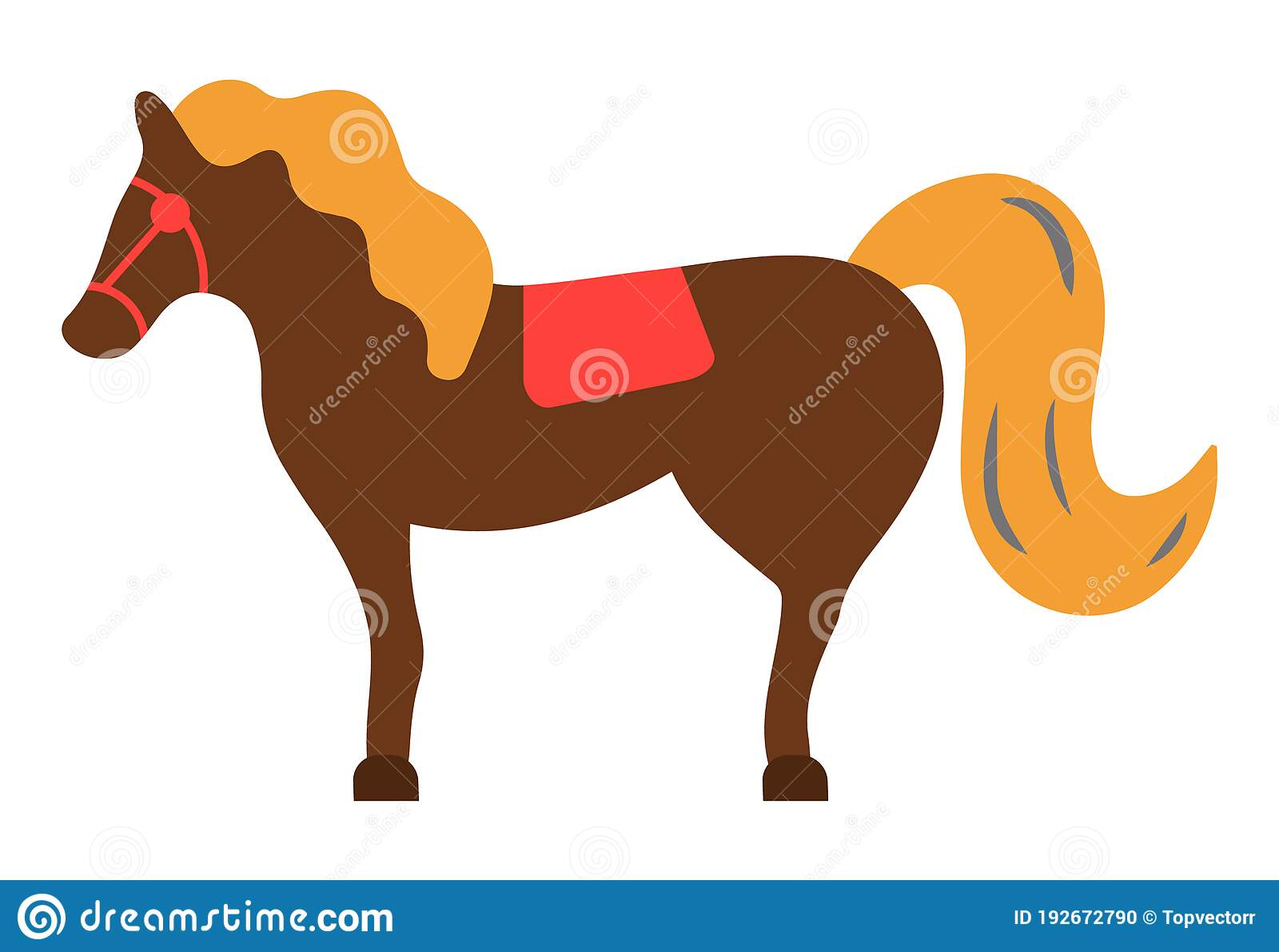 Isolated Icon Horse At White Background Farm Animal With Stirrups And Saddle Racehorse Clip Art Stock Vector Illustration Of Drawing Island 192672790