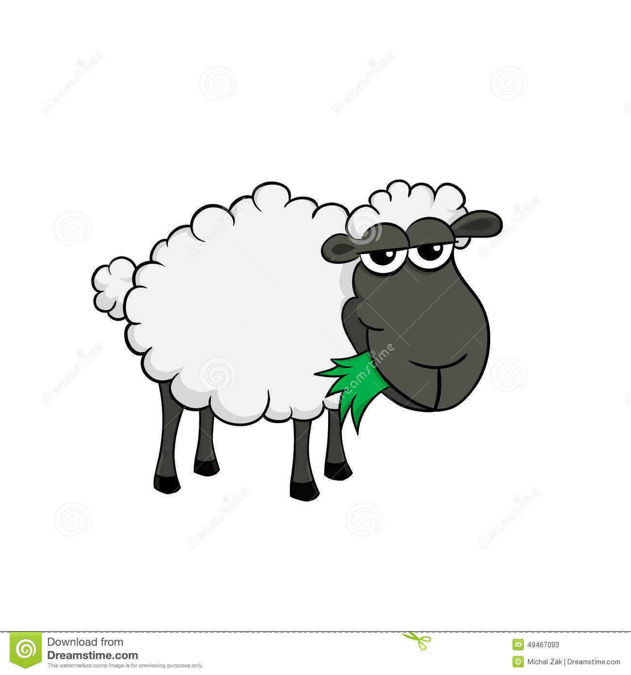 ... Of A Cartoon Sheep Eating Grass Stock Vector - Image: 49467093