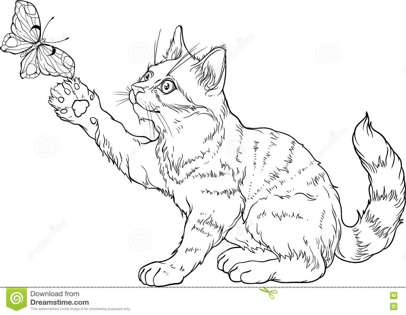 Kitten Playing With Yarn Clipart Collection Sketch ...