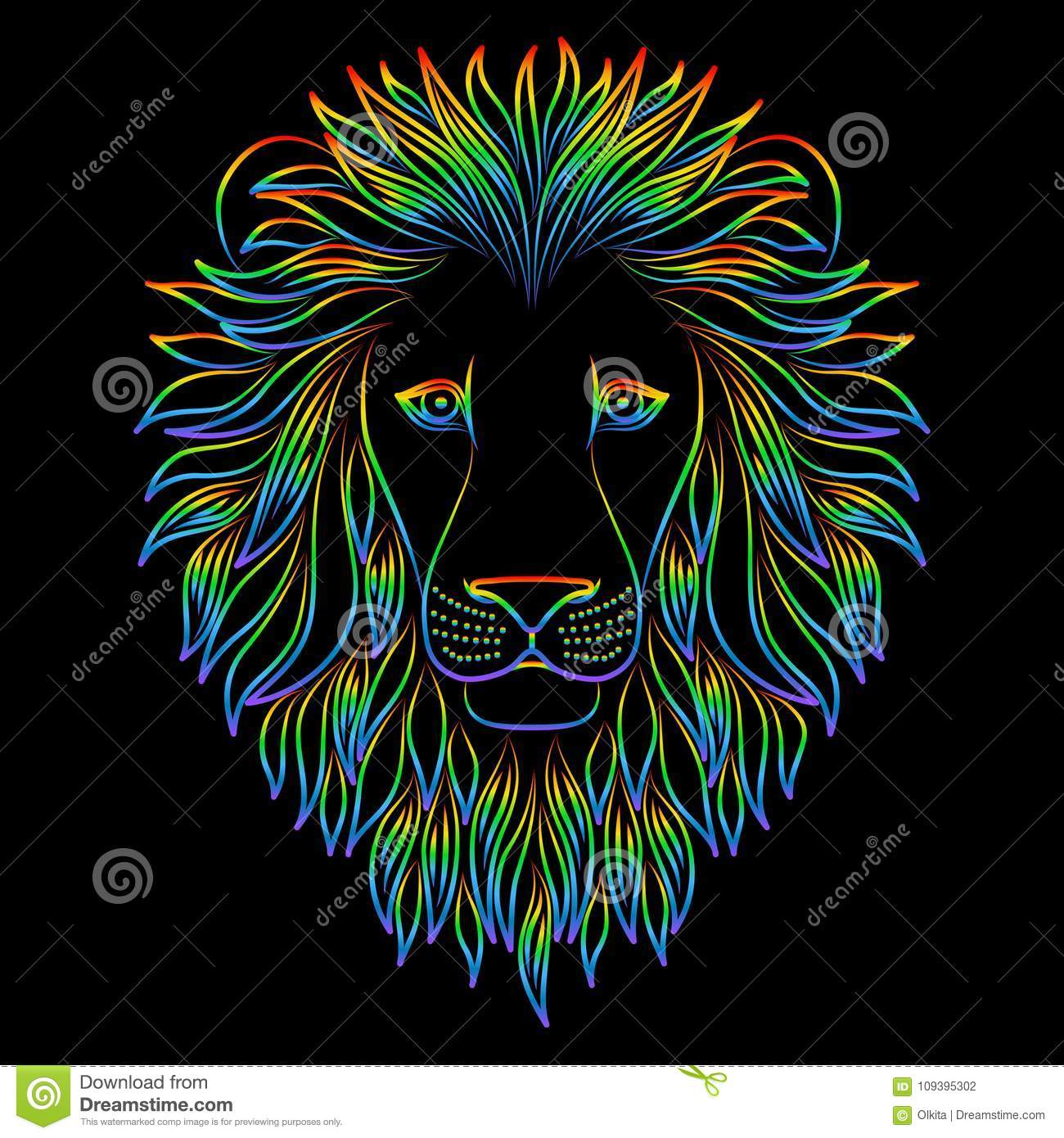 Isolated iridescent outline head of lion on black background. Rainbow line cartoon king of animals portrait. Curve lines.