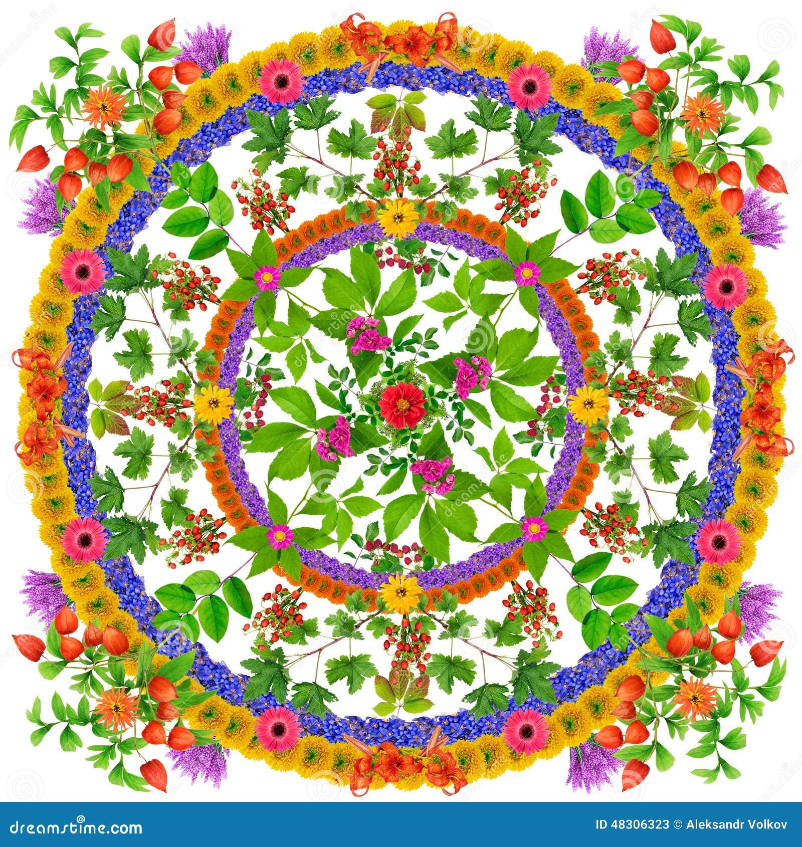Isolated Leaves Happiness Mandala Stock Image