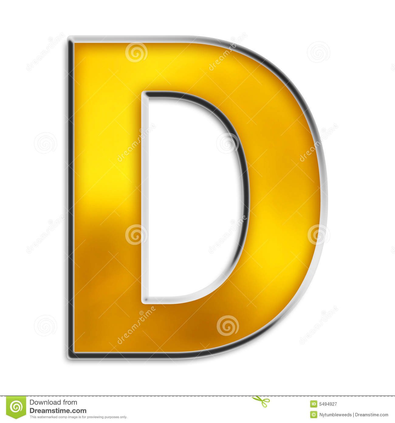 Isolated Letter D In Shiny Gold