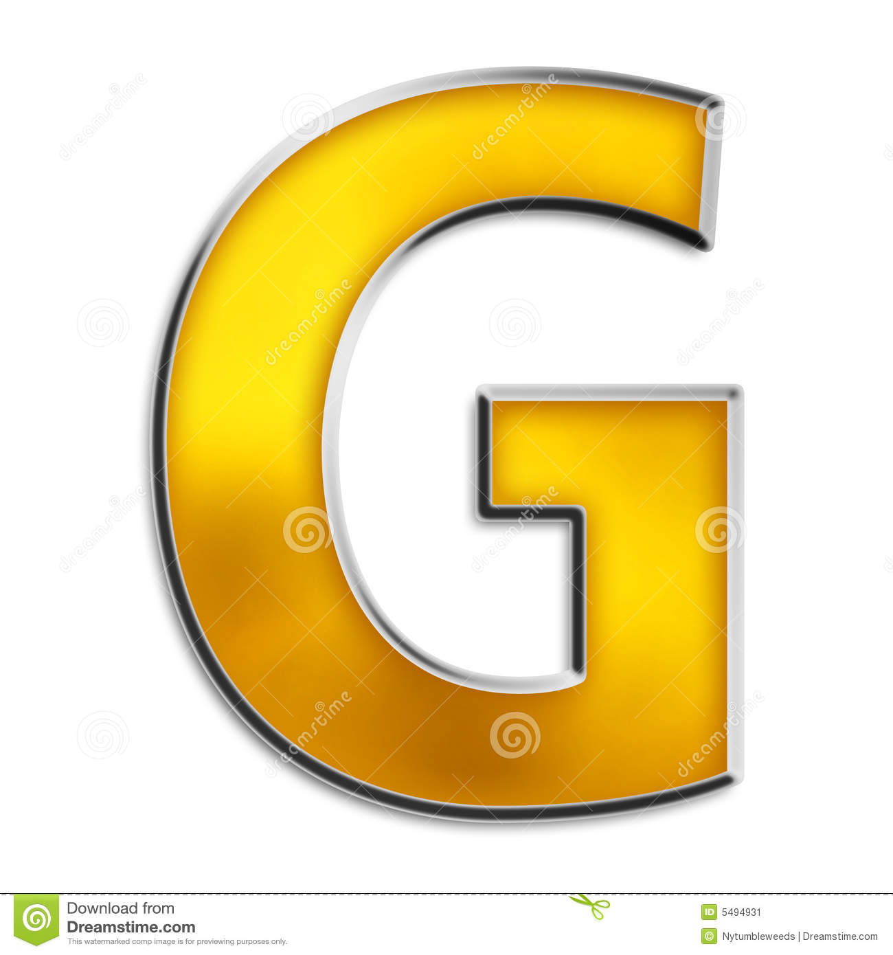 Isolated Letter G In Shiny Gold