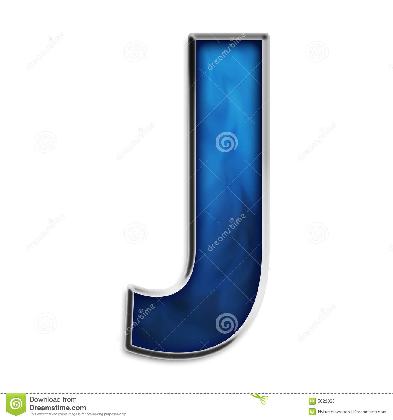 Isolated Letter J In Tribal Blue Royalty Free Stock Image