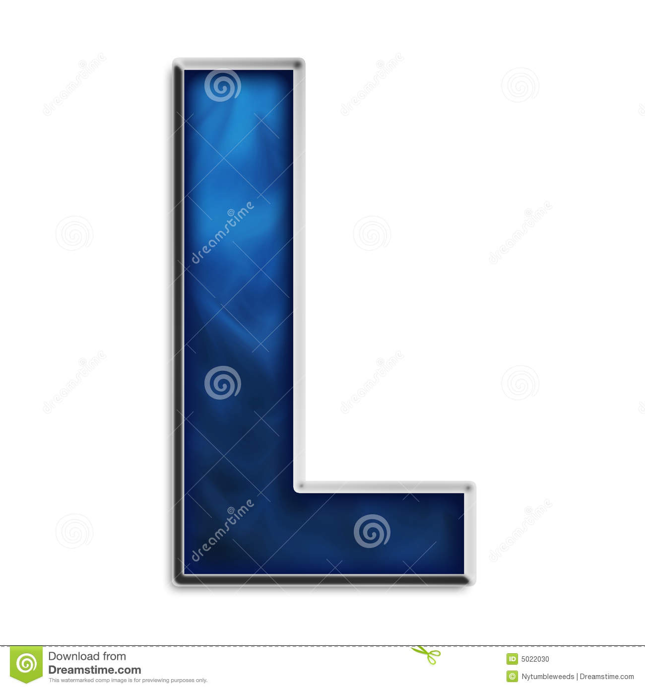 Isolated Letter L In Tribal Blue Stock Photo - Image: 5022030