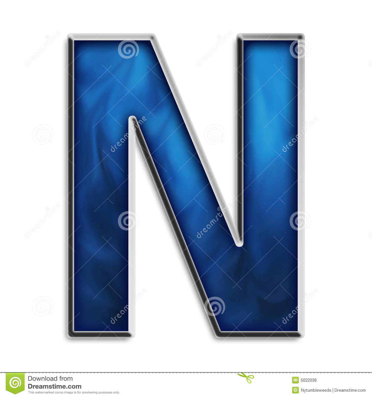 isolated letter n in tribal blue royalty free stock image