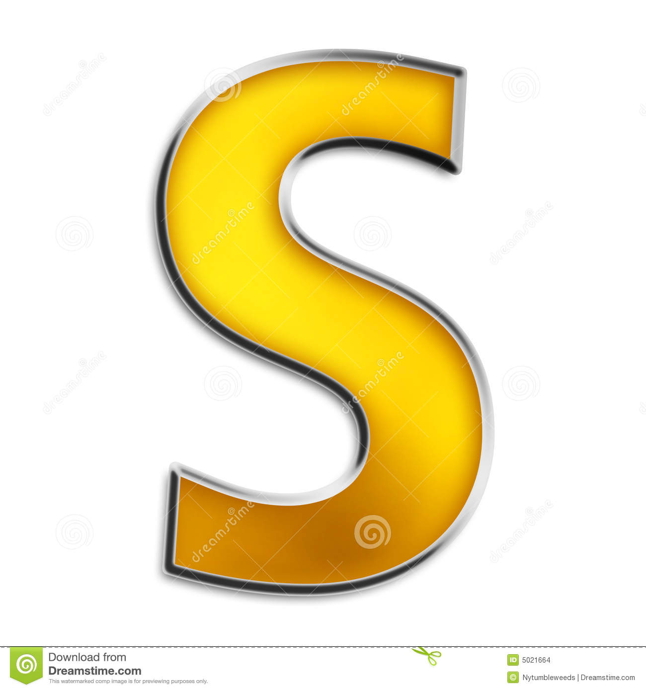Isolated Letter S In Shiny Gold