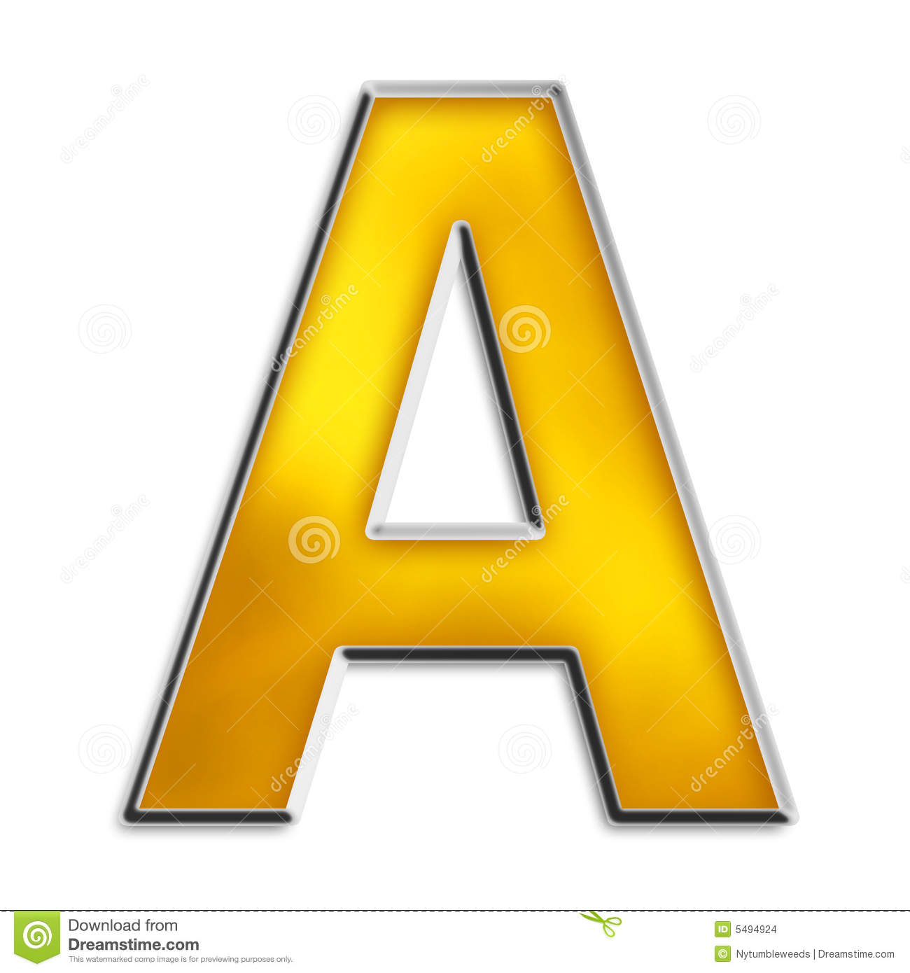 isolated letter a in shiny gold stock images