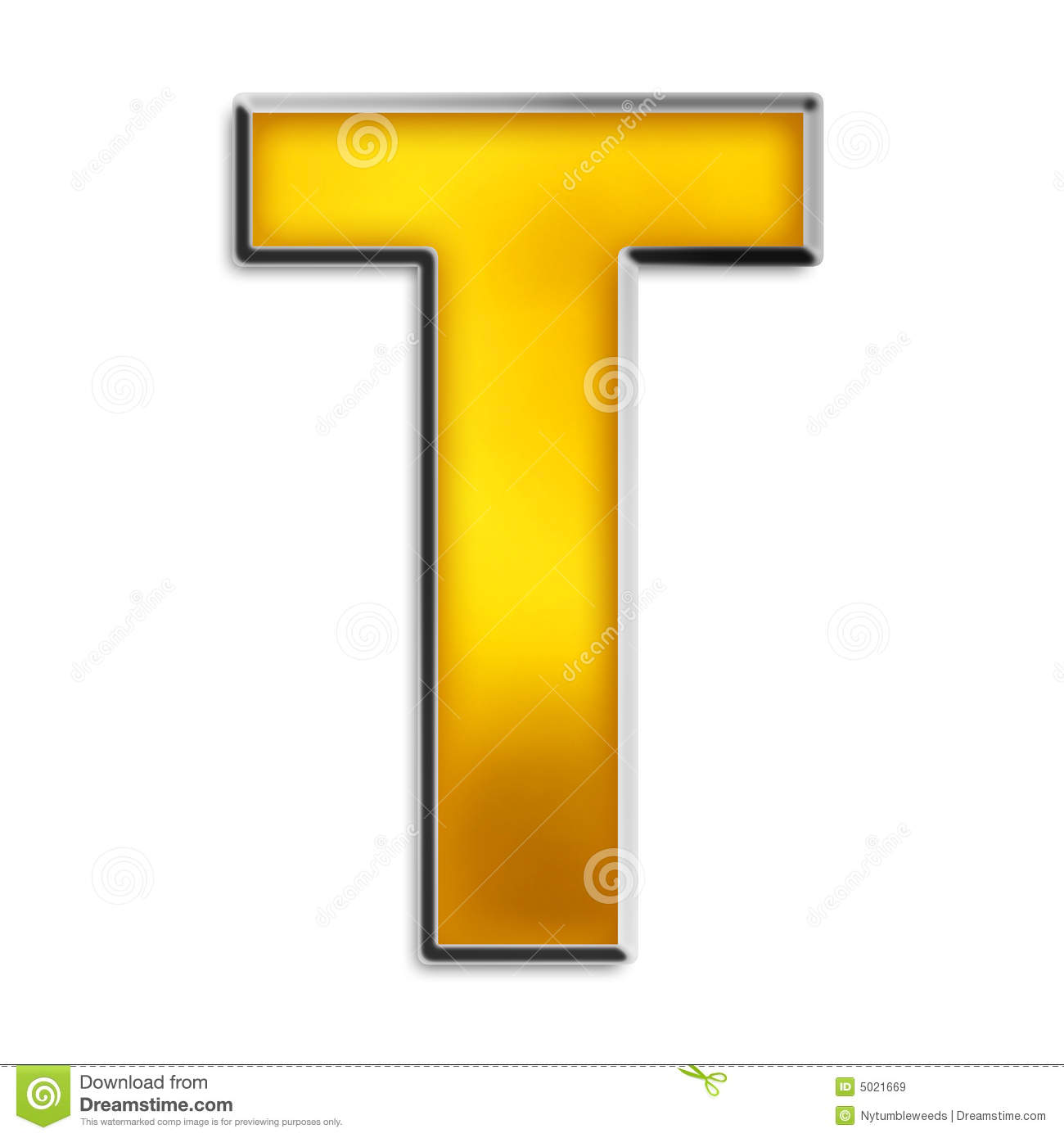 Isolated Letter T In Shiny Gold Stock Illustration