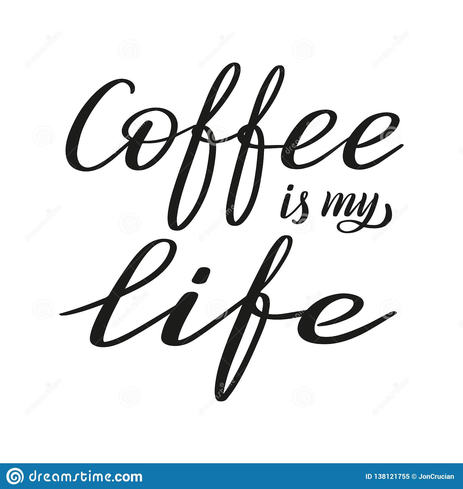 Coffee is my love. Brush pen lettering. Vector.