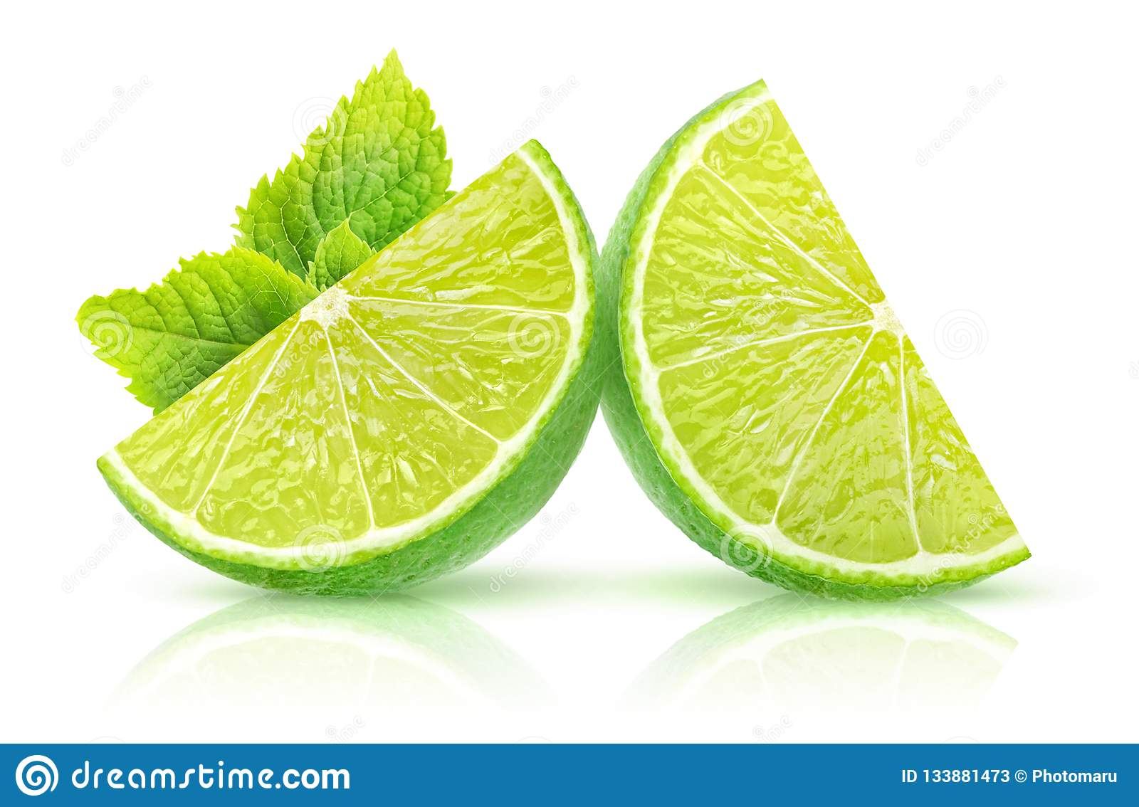 Isolated lime and mint