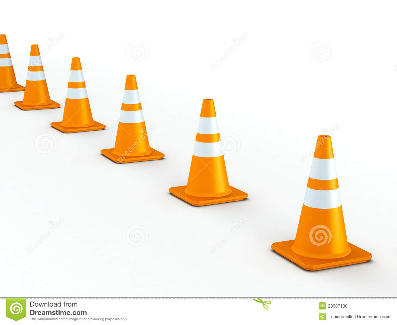 Line of Traffic Cones stock illustration. Image of ... Traffic Cone On Road