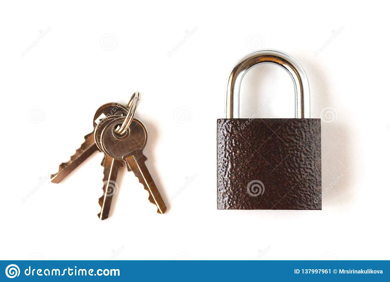 Isolated locked textural brown padlock with a bunch of three keys on a white background