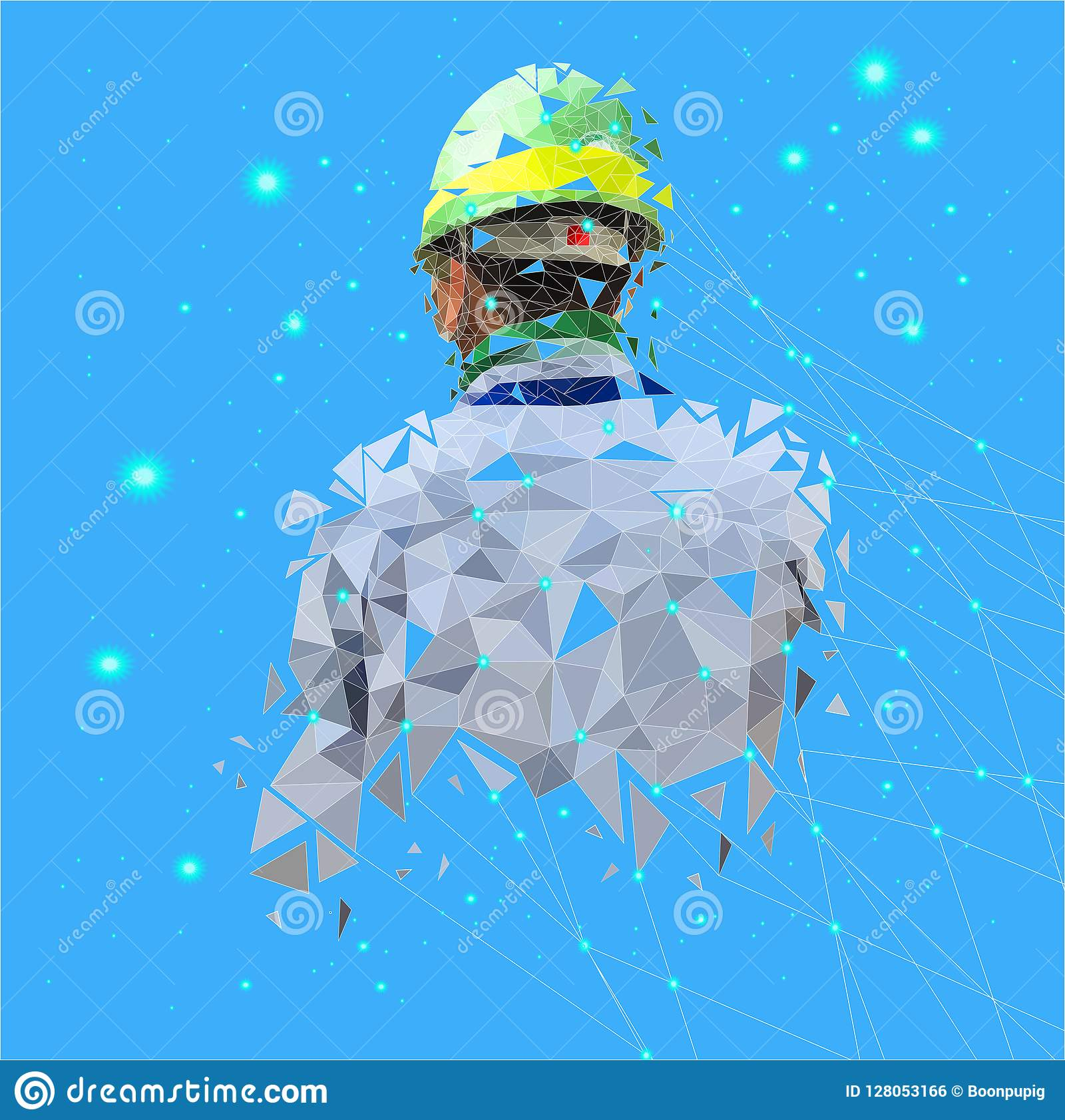 Isolated Low Poly Of Safety Engineer With Point Connecting