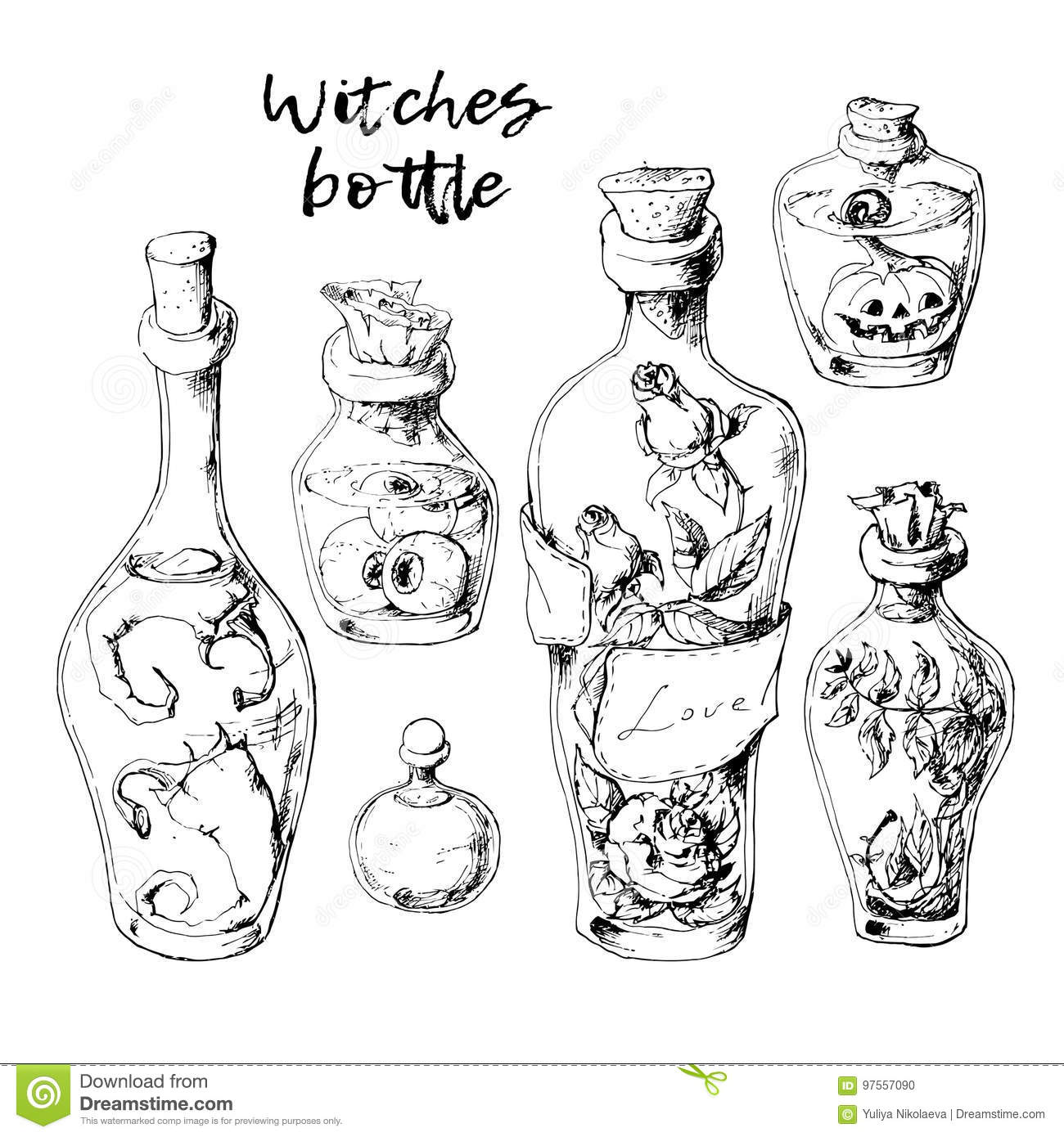 Isolated magic bottle jars set with liquid potions for transformations