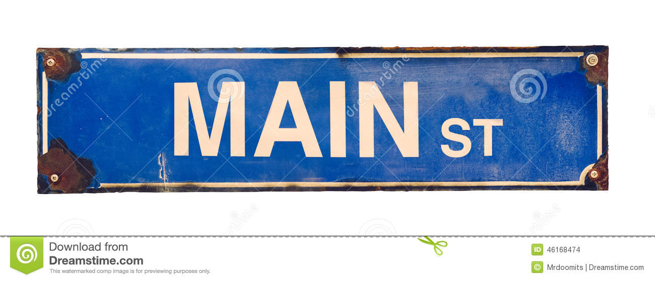isolated main street sign stock photo - image: 46168474