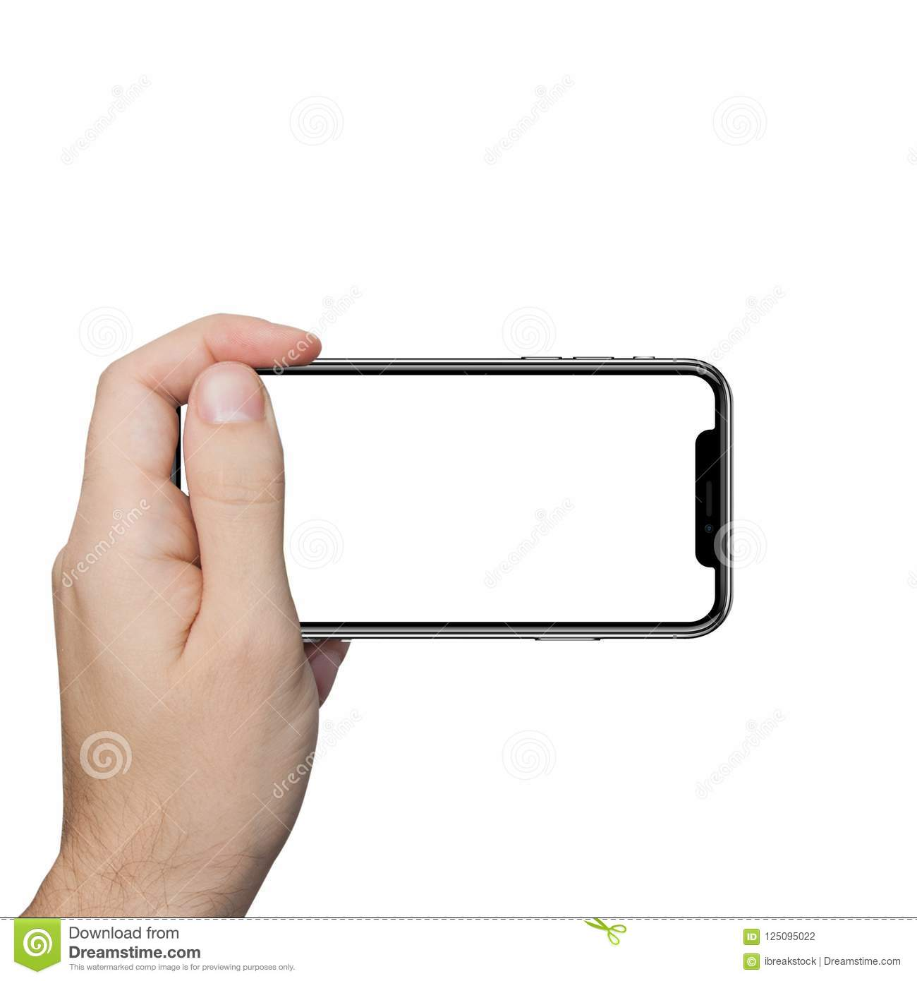 Isolated male hand holding the phone similar to iphone x tablet touch