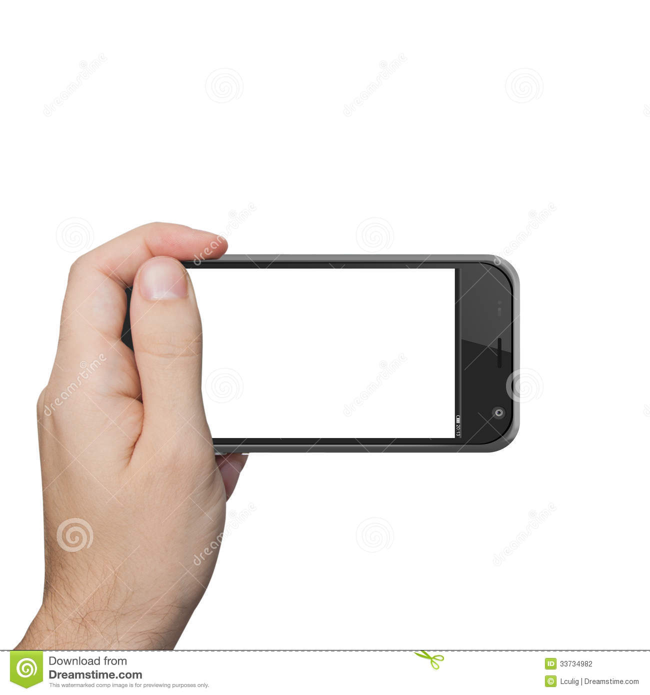 Isolated male hand holding the iphone tablet touch