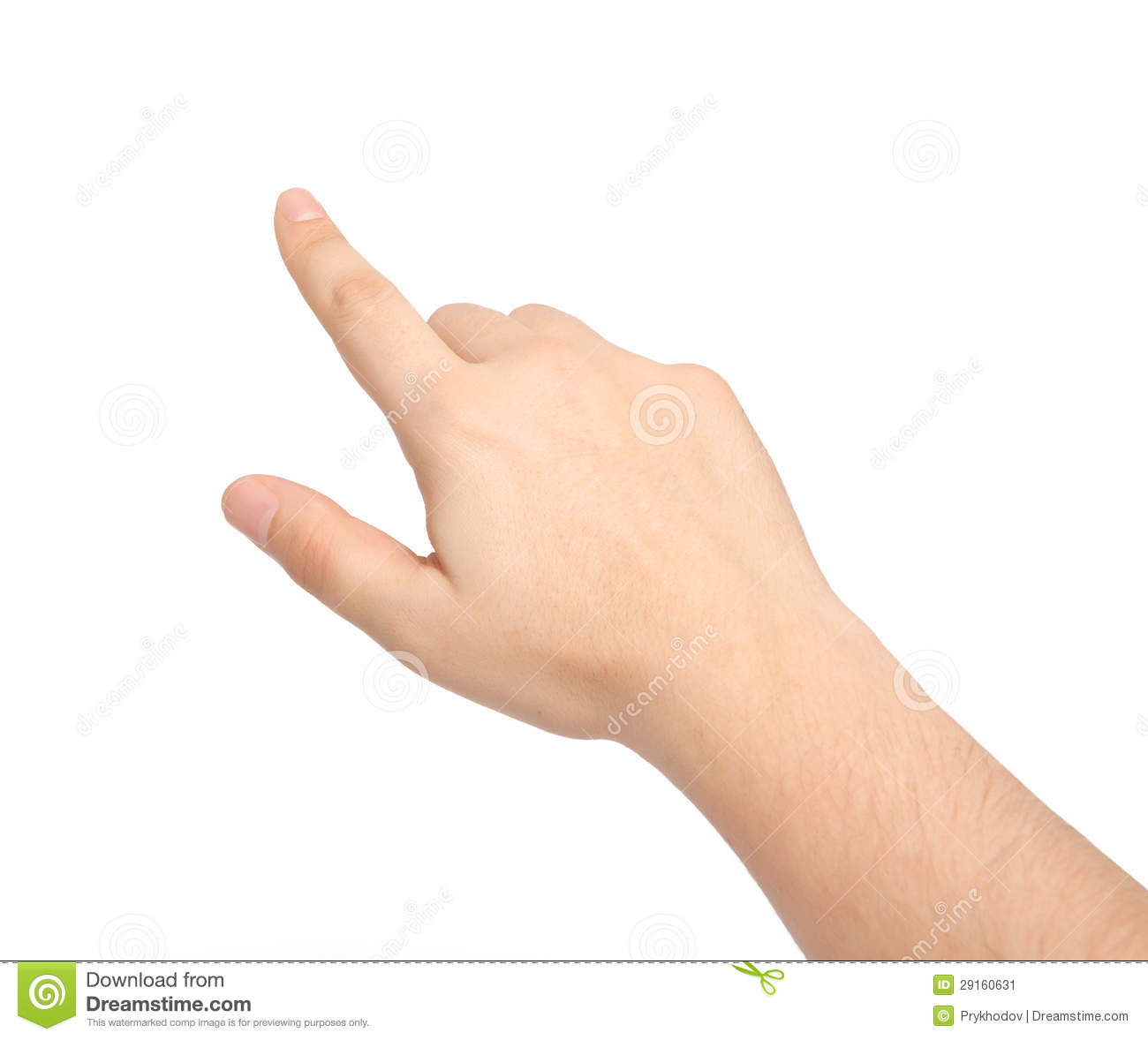 Isolated Male Hand Touching Or Pointing Stock Image