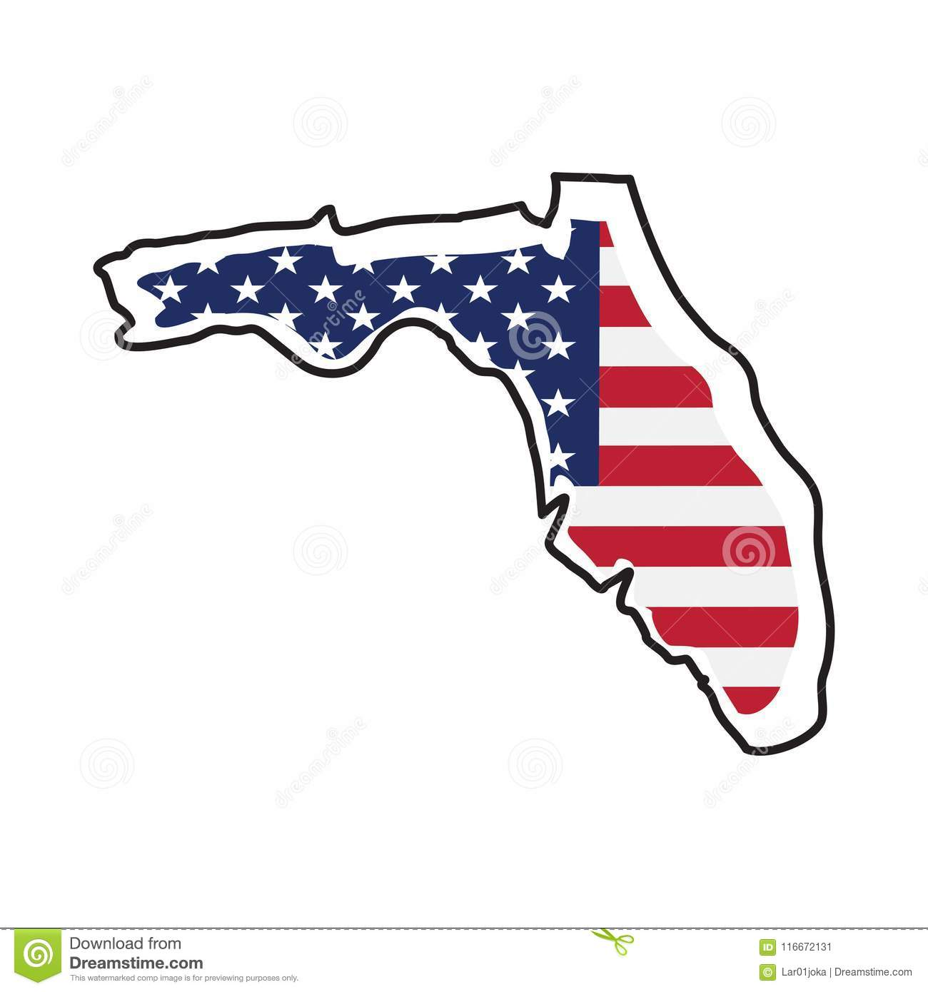 Florida Geography Map.Isolated Map Of The State Of Florida Stock Vector Illustration Of