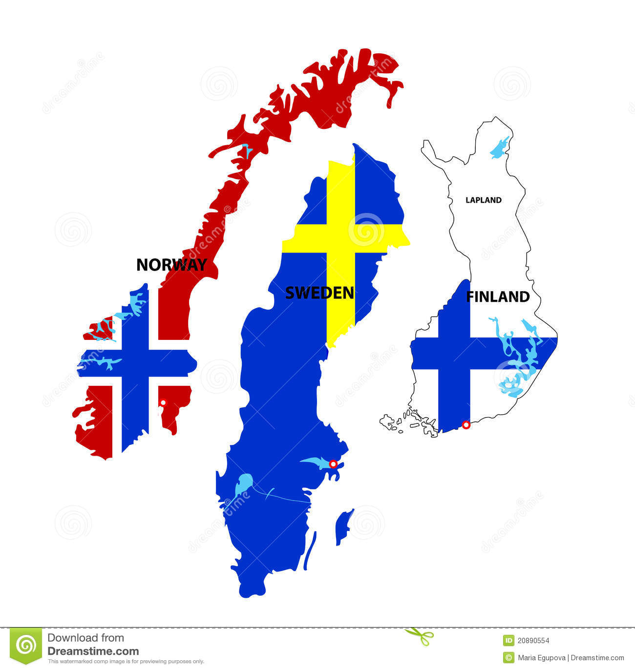 Isolated Maps Of Norway Sweden And Finland Stock Images Image - Norway map clipart