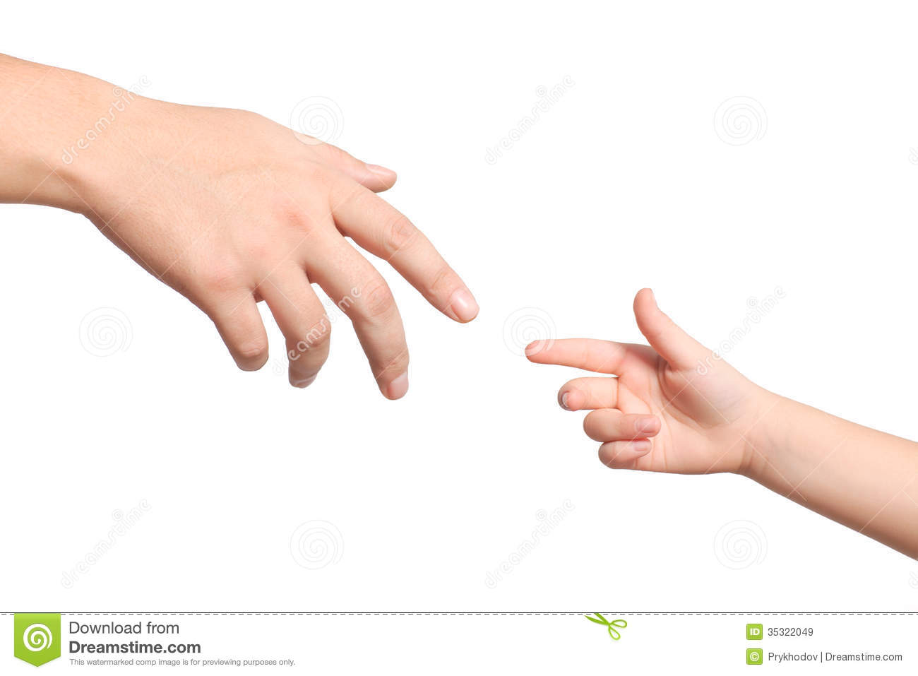 Isolated Men And Children Hands Reach Toward Each Other