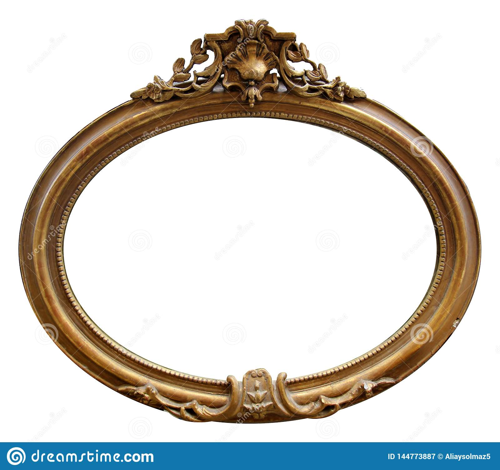 Isolated Mirror Frame, Ornamentation, Wooden Material