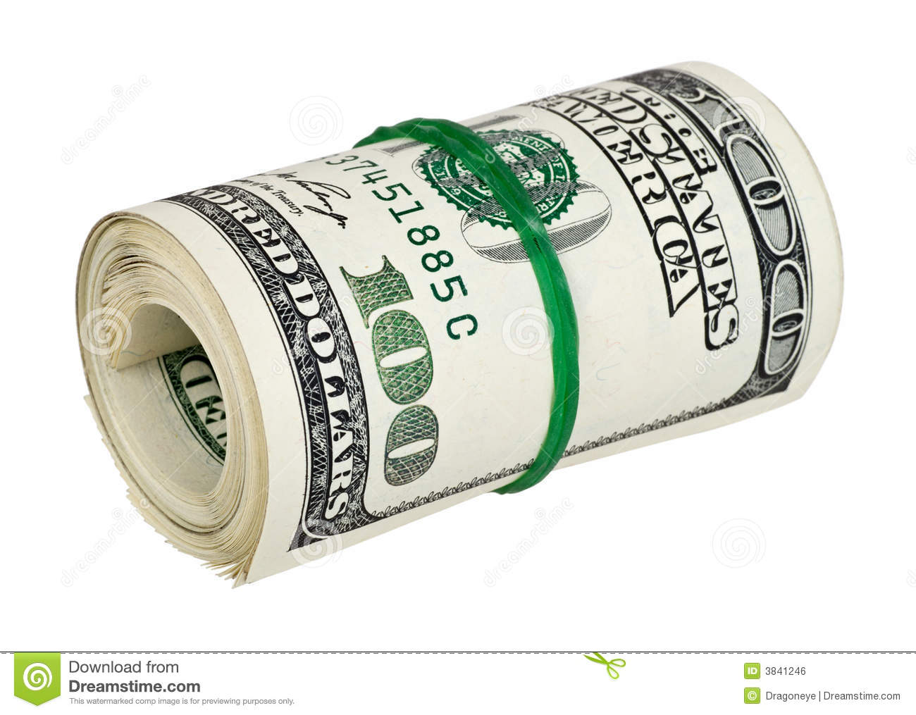 Isolated money rolled white