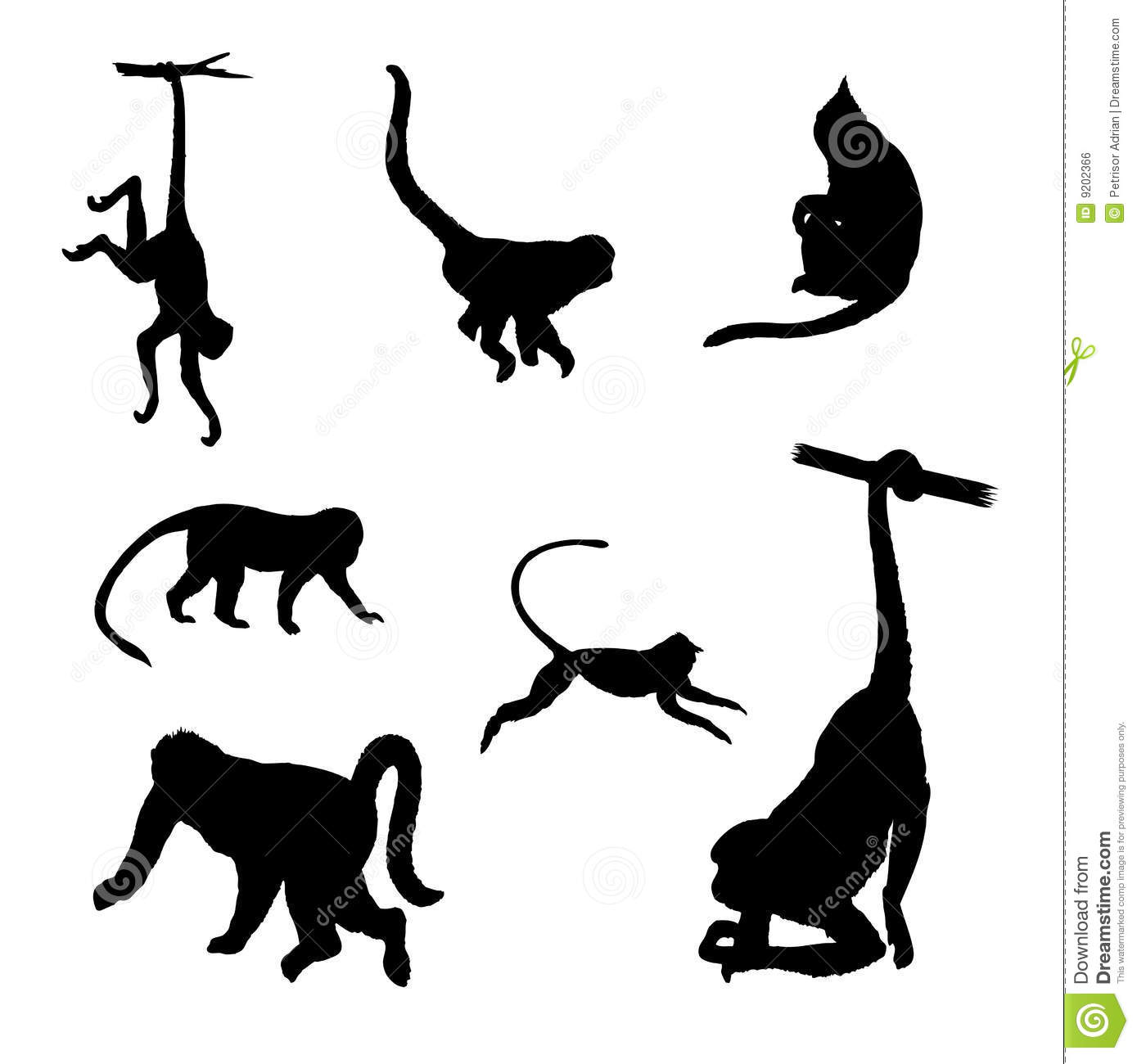 Isolated Monkey Vector Silhouettes Stock Vector