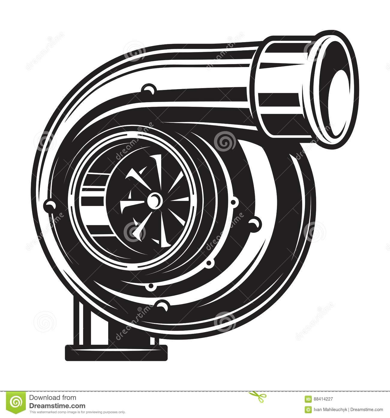 Isolated Monochrome Illustration Of Car Turbo Charger Stock Vector